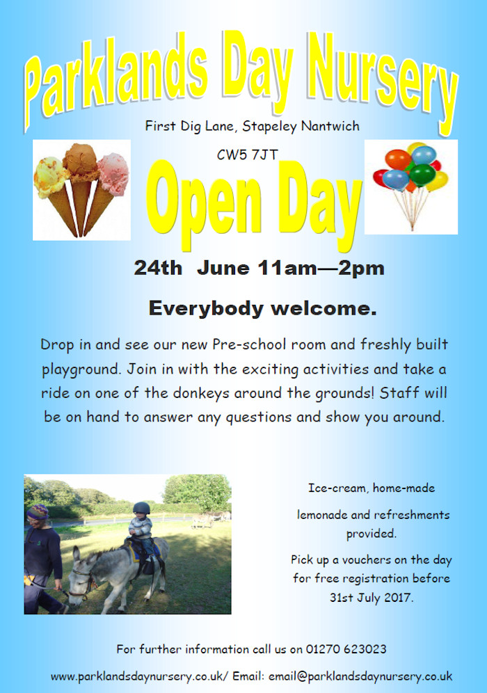 Parklands Day Nursery Open day 24th of June