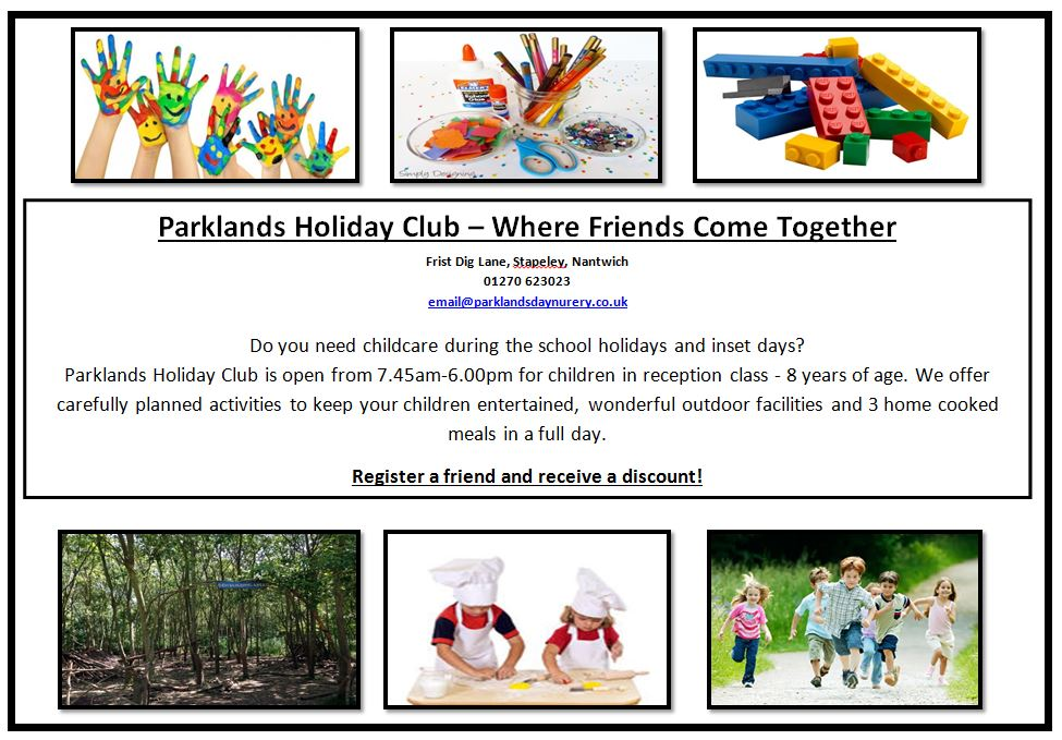 Parklands' new Holiday Club is opening this half term. Full day or shorter day option available. Contact us to find out more.