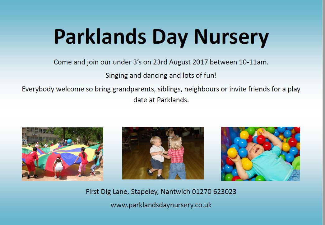 Nursery event under 3's on 23rd of August 2017 between 10-11am